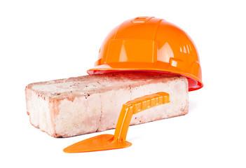 Orange Construction Helmet with brick