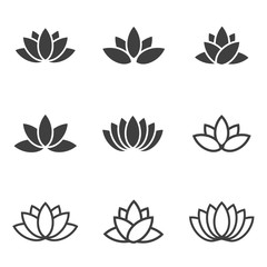 Vector black lotus icons set on white background. Lotus plant. Lotus flower