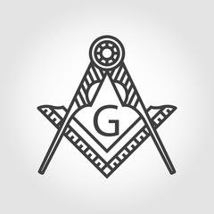 Vector grey masonic freemasonry emblem icon on grey background. Masonic square compass God symbol. Trendy alchemy element. Religion philosophy, spirituality, occultism, chemistry, science, magic