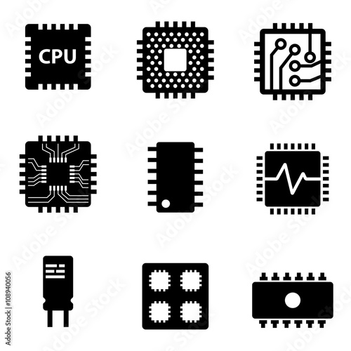 u0026quot vector black cpu microprocessor and chips icons set