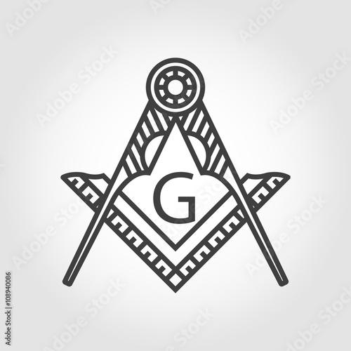 Vector grey masonic freemasonry emblem icon on grey