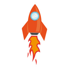 Vector rocket space ship icon on white background. Cute cartoon rocket space ship