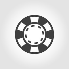 Vector grey casino poker chips icon on white background