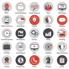 Set of modern flat design icons for internet marketing, media and business, isolated on white