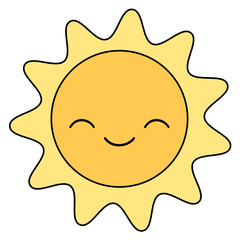 cute cartoon sun smiling isolated on white background vector illustration