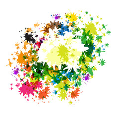 Abstract Vector Colorful Splashes on White Background