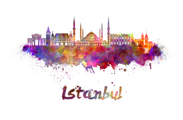 Wall Mural - Istanbul skyline in watercolor