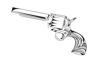 Hand drawn revolver with boho pattern. Vector vintage element for tattoo design printed on a T-shirt, postcards and your creativity