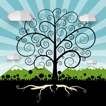 Tree - Vector Curled Abstract Tree on Landscape with Mountains - Flowers Silhouette and Blue Sky Nature Vector Illustration
