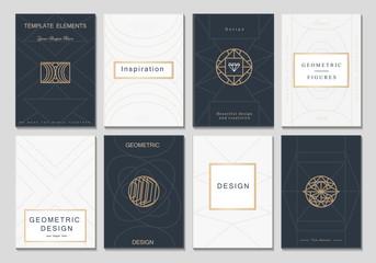 Monogram creative cards template with geometric elements. Elegant design for cafe, restaurant, heraldic, jewelry, fashion.