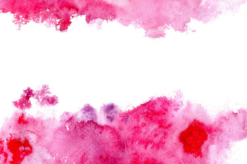 Frame from pink watercolor blotch.Abstract watercolor hand drawn illustration.Pink splash.