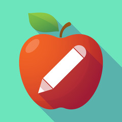 Long shadow red apple with a pencil
