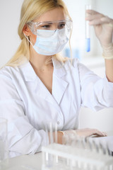 Female scientific researcher in laboratory