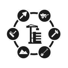 Vector black construction icon set. Construction Icon Object, Construction Icon Picture, Construction Icon Image - stock vector