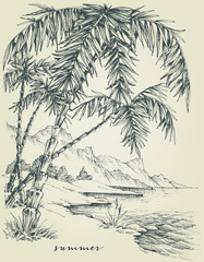 Summer sketch. Palm trees on the beach