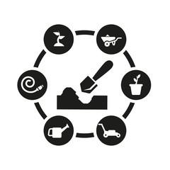 Vector black gardening icon set. Gardening Icon Object, Gardening Icon Picture, Gardening Icon Image - stock vector