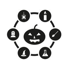 Vector black halloween icon set. Halloween Icon Object, Halloween Icon Picture, Halloween Icon Image - stock vector