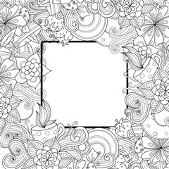 Floral hand drawn zentangle frame. Doodle flowers and leaves decorative border.