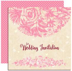 Wedding invitation, floral decoration over vintage background