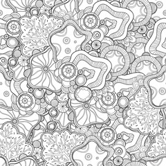 Doodle black and white abstract hand drawn vector background. Wavy zentangle style seamless pattern.