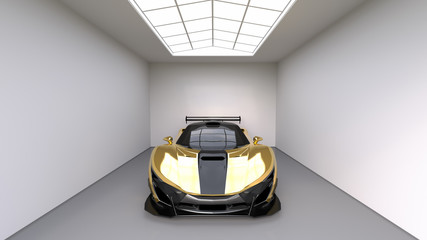 Sports car front view. The image of a sports yellow car on a studio room. 3d illustration.