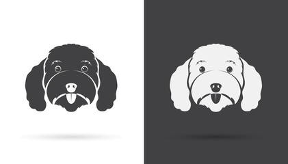 Vector image of an dog poodle face on white background and black