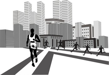 Running man sport concept and sports urban background vector illustration