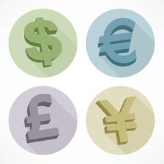 Money color signs dollar euro pond yen vector illustration