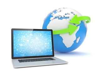 Laptop network and earth globe. 3d rendering.