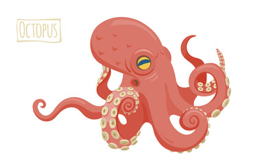 Octopus, vector cartoon illustration.