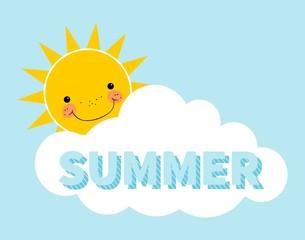 Cartoon summer background. Sun. Cloud. Design concept with happy smiley sun