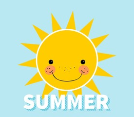 Summer concept. Smiling sun. Summer lettering. Isolated. Blue background