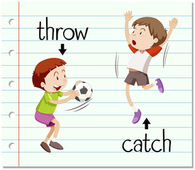 Word card throw and catch