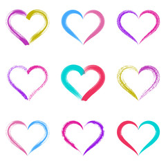 Colorful vector brush strokes hearts
