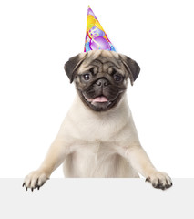 Pug puppy with birthday hat peeking from behind empty board. iso
