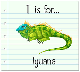 Flashcard letter I is for iguana