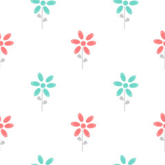 colorful cute abstract daisy flowers blue and red seamless vector pattern background illustration