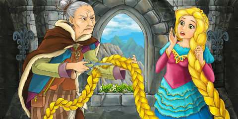 Cartoon scene with beautiful young girl and old woman talking - illustration for children