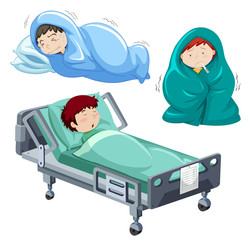 Kids being sick in bed