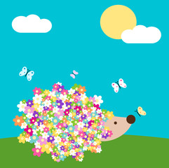 cute cartoon spring hedgehog with daisy flowers in the meadow vector illustration