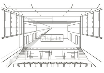 Linear architectural sketch concert hall