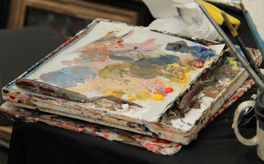 The Workspace and Palette of a Painting Artist.