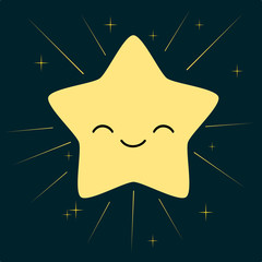 cute cartoon star isolated in the sky vector illustration