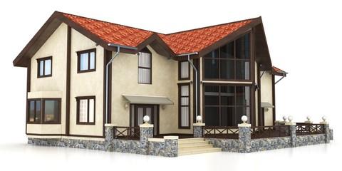 3d modern house exterior
