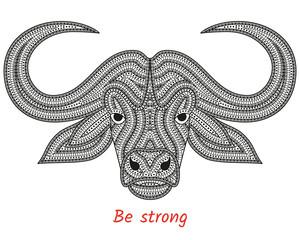 Creative stylized bull head in ethnic boho style. Animal background. Vector illustration