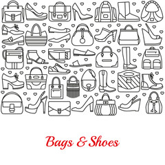 Background made of line icons. Bags and shoes. Vector illustration