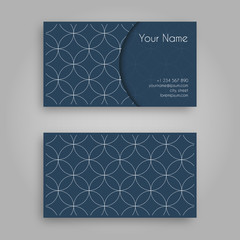 Business card template with sashiko design. Vintage decorative elements.Traditional Japanese Embroidery Ornament with fans