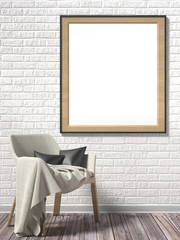 Blank picture frame with white armchair. Mock up poster. 3D render illustration