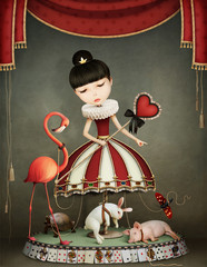 Conceptual illustration of girl  fairy queen with  carousel and animals.