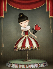 Conceptual illustration of girl  fairy queen with  carousel.